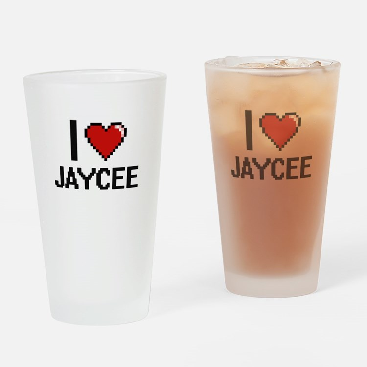 I Love Jaycee Digital Retro Design Drinking Glass