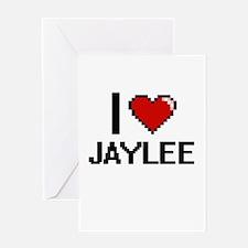 I Love Jaylee Digital Retro Design Greeting Cards