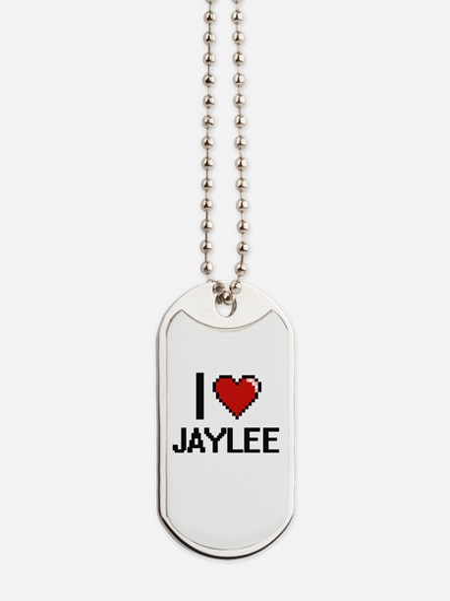 I Love Jaylee Digital Retro Design Dog Tags