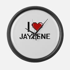 I Love Jaylene Digital Retro Desi Large Wall Clock