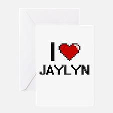 I Love Jaylyn Digital Retro Design Greeting Cards