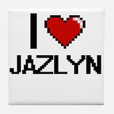 I Love Jazlyn Digital Retro Design Tile Coaster