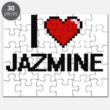 I Love Jazmine Digital Retro Design Puzzle