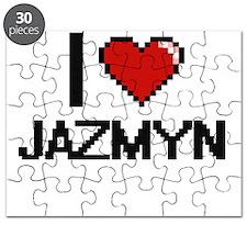 I Love Jazmyn Digital Retro Design Puzzle
