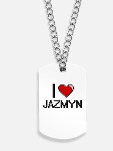 I Love Jazmyn Digital Retro Design Dog Tags