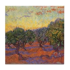 Van Gogh Olive Grove, Orange Sky Tile Coaster