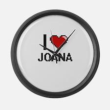I Love Joana Digital Retro Design Large Wall Clock