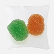 Orange and Green Gumdrops Woven Throw Pillow