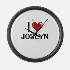 I Love Joslyn Digital Retro Desig Large Wall Clock