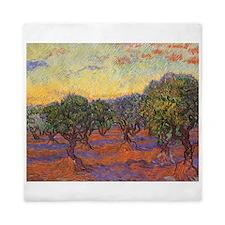 Van Gogh Olive Grove, Orange Sky Queen Duvet