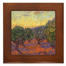 Van Gogh Olive Grove, Orange Sky Framed Tile