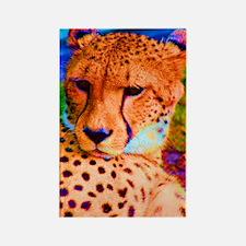 Rainbow Cheetah Rectangle Magnet