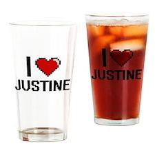 I Love Justine Digital Retro Design Drinking Glass