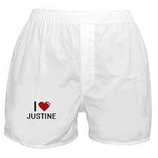 I Love Justine Digital Retro Design Boxer Shorts
