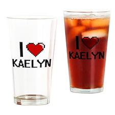 I Love Kaelyn Digital Retro Design Drinking Glass