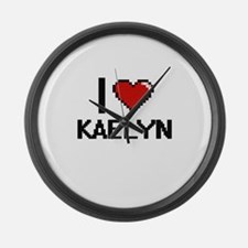 I Love Kaelyn Digital Retro Desig Large Wall Clock