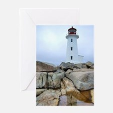 Peggy's Point Lighthosue Reflection Greeting Cards