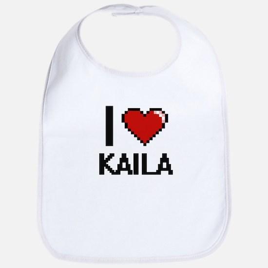 I Love Kaila Digital Retro Design Bib