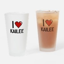 I Love Kailee Digital Retro Design Drinking Glass