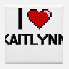 I Love Kaitlynn Digital Retro Design Tile Coaster