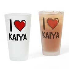 I Love Kaiya Digital Retro Design Drinking Glass