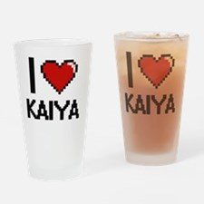 I Love Kaiya Digital Retro Design Drinking Glass