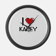 I Love Kaley Digital Retro Design Large Wall Clock