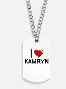 I Love Kamryn Digital Retro Design Dog Tags