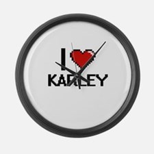 I Love Karley Digital Retro Desig Large Wall Clock