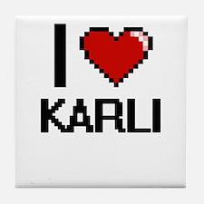 I Love Karli Digital Retro Design Tile Coaster