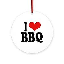 I Love BBQ Ornament (Round)
