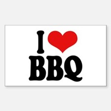 I Love BBQ Rectangle Decal