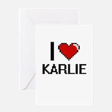 I Love Karlie Digital Retro Design Greeting Cards