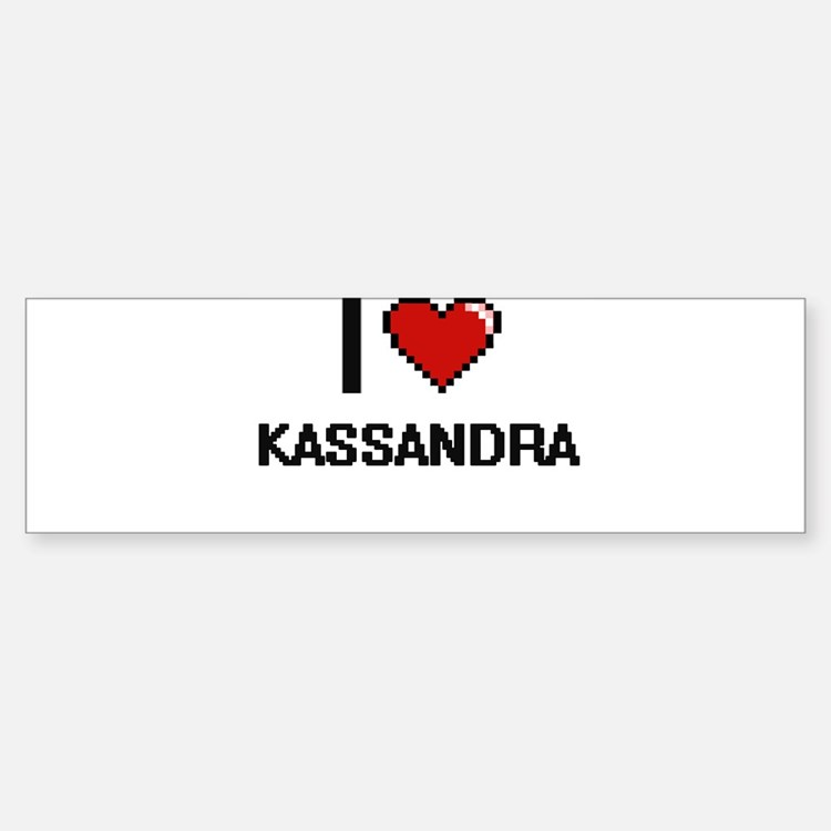 I Love Kassandra Digital Retro Desi Bumper Car Car Sticker