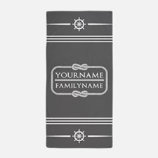 Gray Nautical Rope Personalized Beach Towel