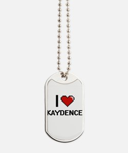 I Love Kaydence Digital Retro Design Dog Tags
