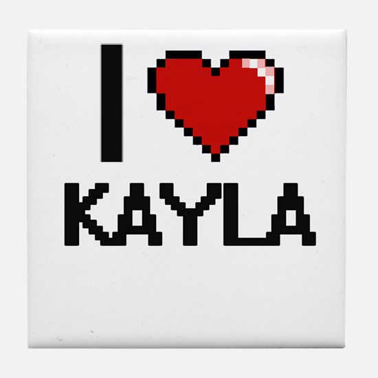 I Love Kayla Digital Retro Design Tile Coaster
