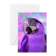 Electrifying Parrot in Purple Greeting Cards