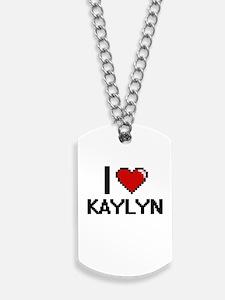 I Love Kaylyn Digital Retro Design Dog Tags