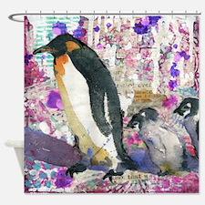 Purple Penguin Party Shower Curtain
