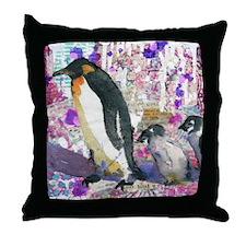 Purple Penguin Party Throw Pillow