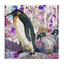 Purple Penguin Party Tile Coaster