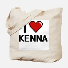 I Love Kenna Digital Retro Design Tote Bag
