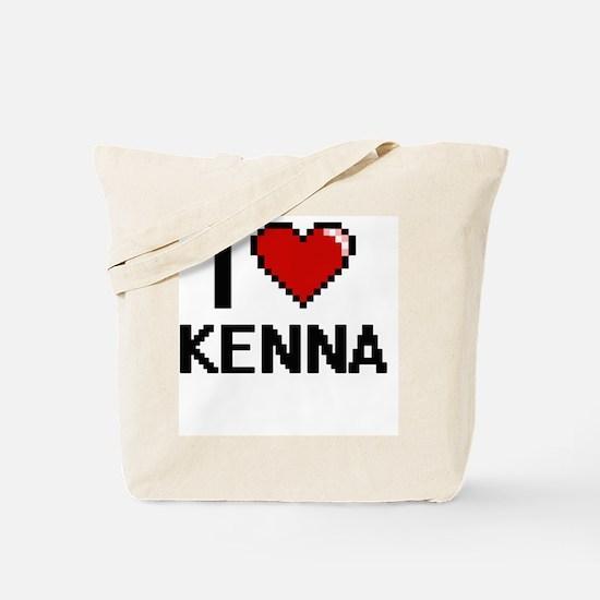 I Love Kenna Digital Retro Design Tote Bag