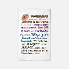 Pomeranian Slogan Area Rug