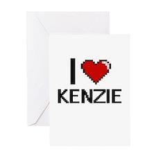 I Love Kenzie Digital Retro Design Greeting Cards