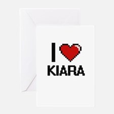 I Love Kiara Digital Retro Design Greeting Cards