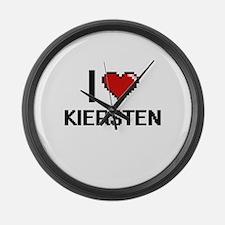 I Love Kiersten Digital Retro Des Large Wall Clock