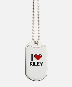 I Love Kiley Digital Retro Design Dog Tags