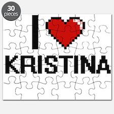 I Love Kristina Digital Retro Design Puzzle